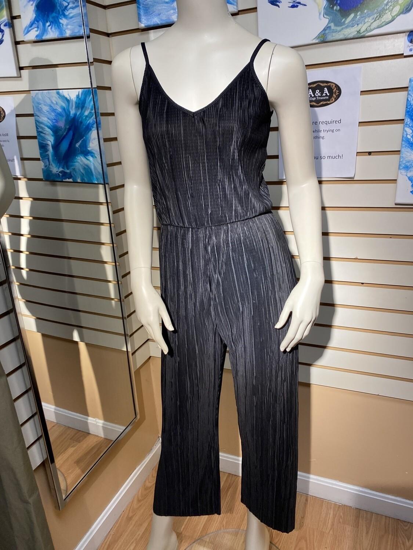 Major Deal Silky Pleated Jump Suit Black