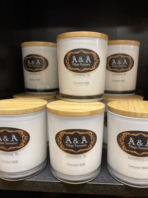 A&A Signature Candle Coconut Milk Scent 100% Soy Made In USA 11.5 oz