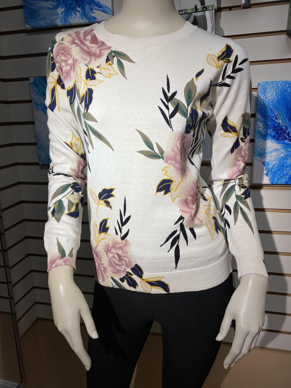 Apricot Floral Print Sweater Cream
