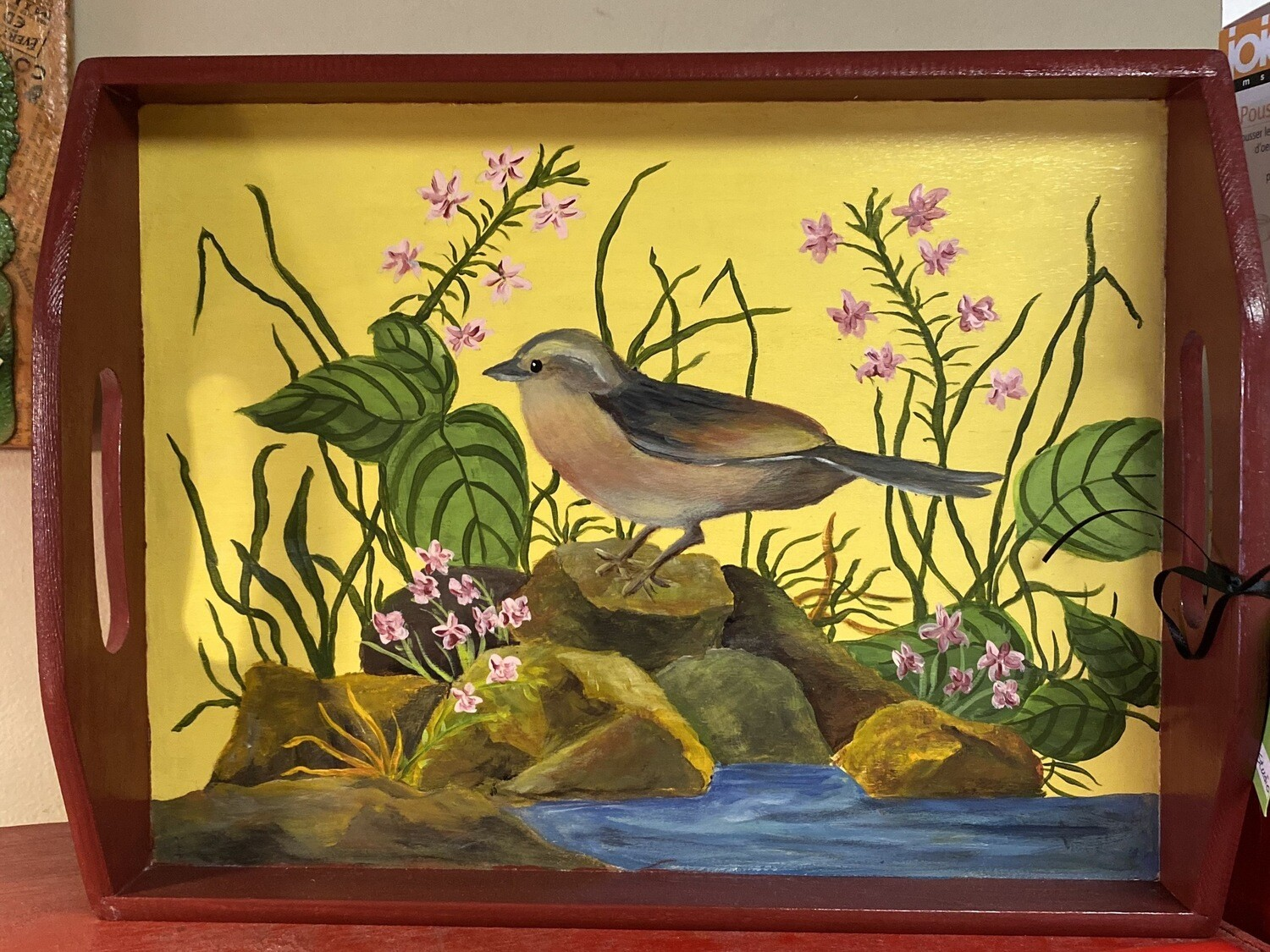 Ask Alice Peaceful Bird. Tray Hand Painted. Locally Made