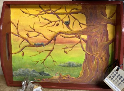 Ask Alice Tree Tray. Hand Painted Locally Made