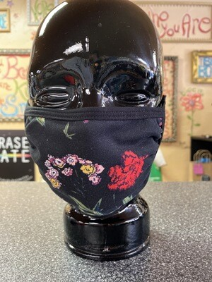 Inside Out 3 Layer Mask Blk W Flowers
