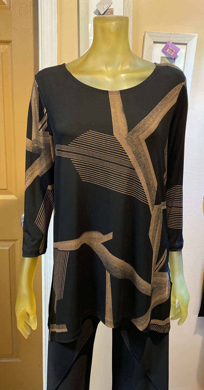 Major Clara SunWoo Geo Print Side Vent Tunic Top XS/ 4/6