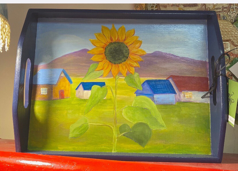 Ask Alice Sunflower Hand Painted sunflower Tray. Locally Made