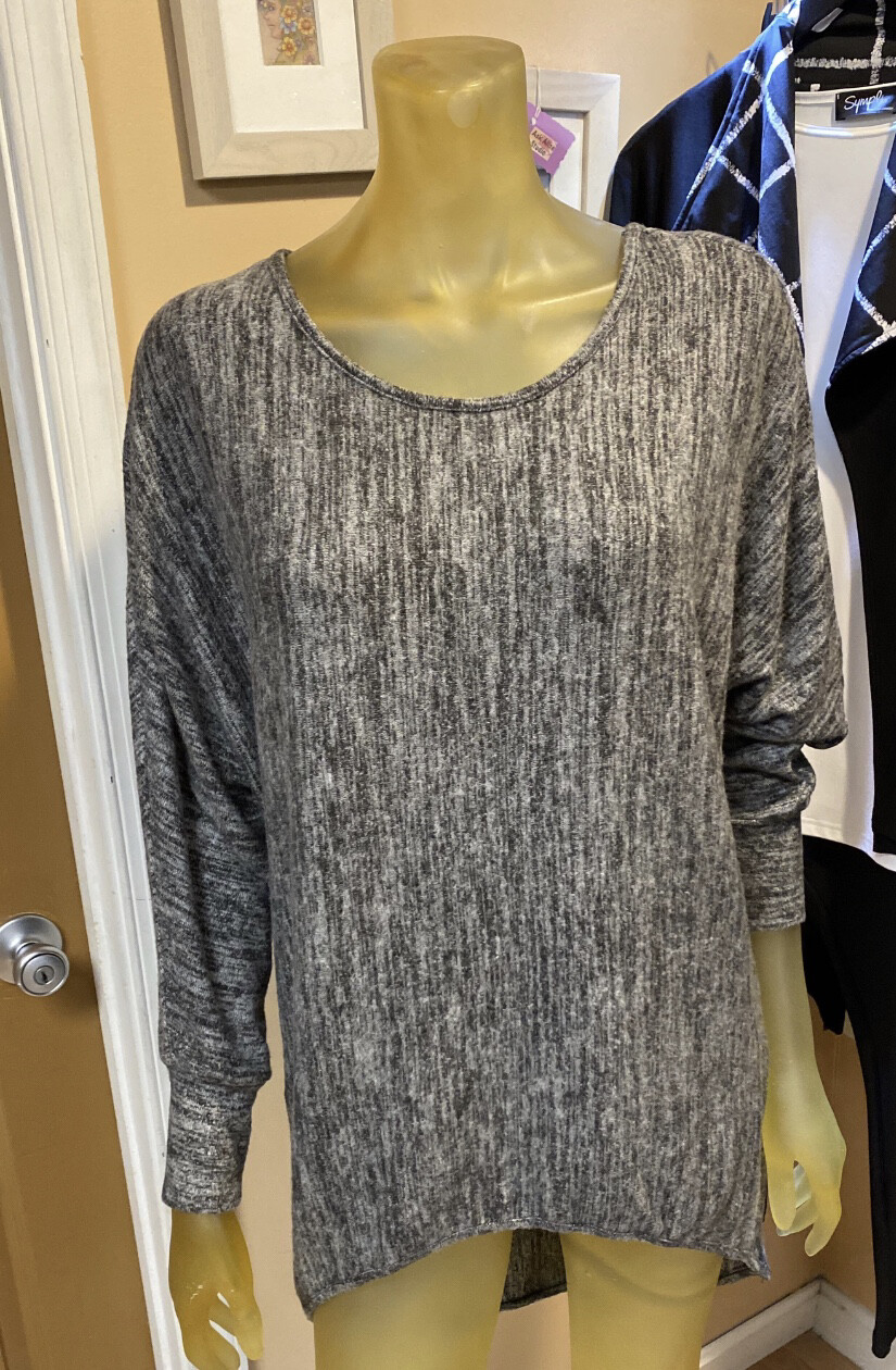 Apricot Marl Batwing Top Grey M