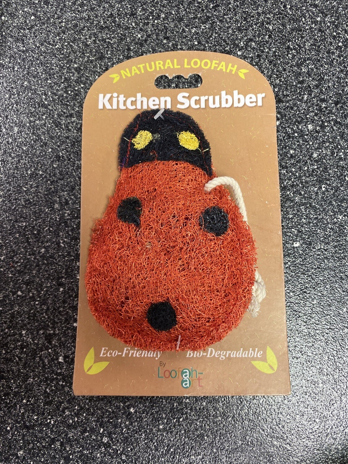 Natural Loofah Lady Bug Kitchen Scrubber