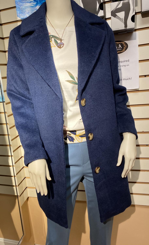 Apricot Boyfriend Coat So Soft Navy XS