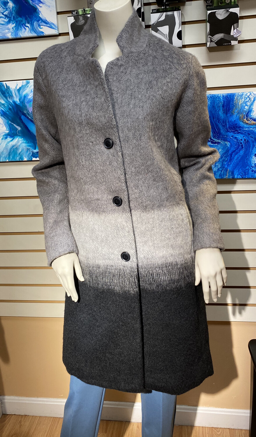 Apricot Ombre Inverted Collar Coat Gray To Black XL