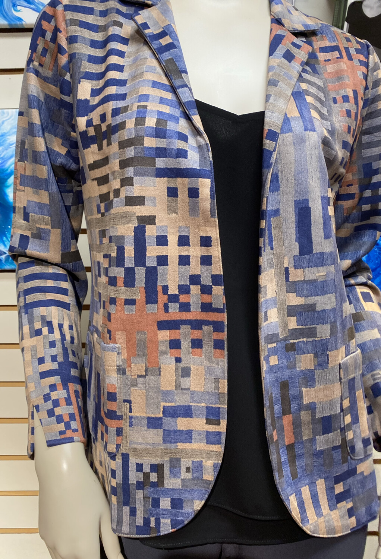 Coco Club Blue Sueded Pattern Jacket XXL