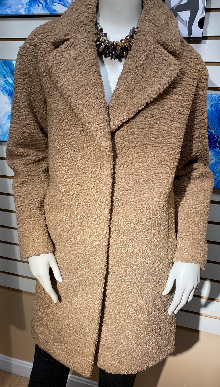 Apricot Borg Fur Coat Stone Large