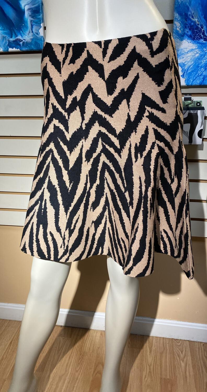 Apricot Zebra Knit Skirt Stone L