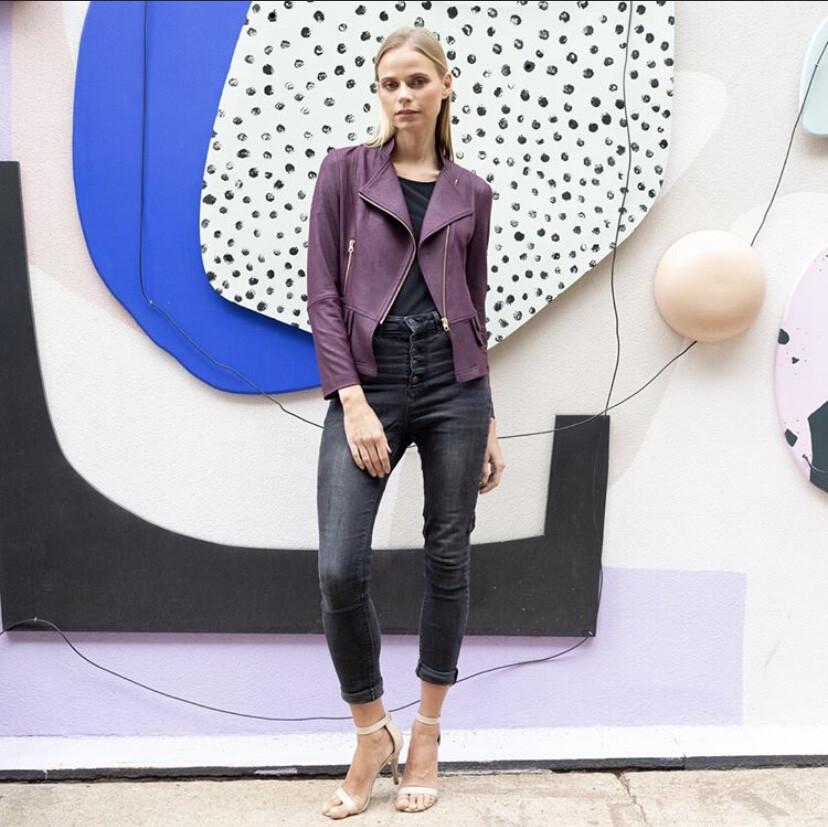 Clara Liquid Leather Jacket Plum Xs