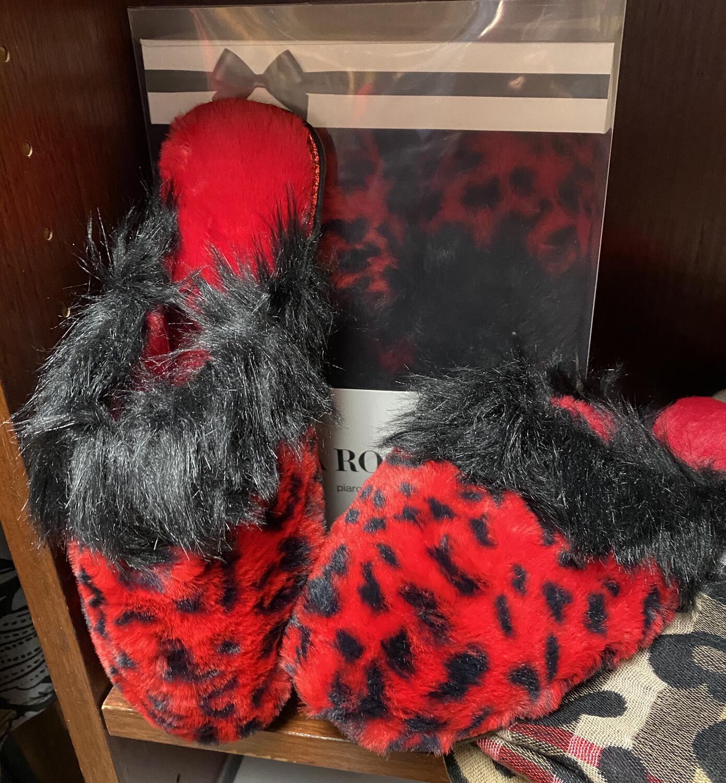 Livia Furry Leopard Slipper Blk/Red S