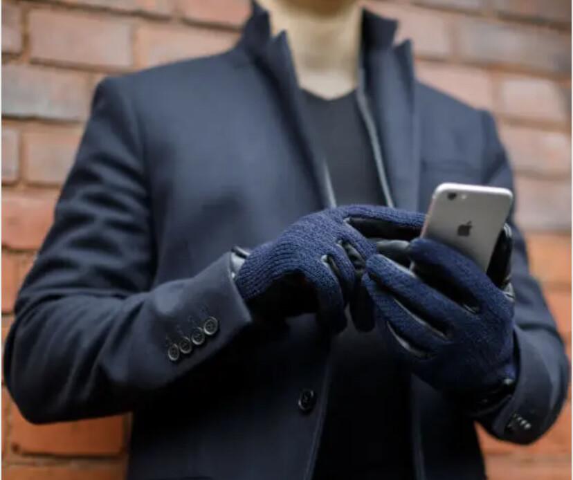 Mens Napo Leather Gloves M Navy