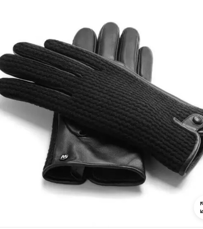 Mens Napo Leather Gloves Blk Knit M