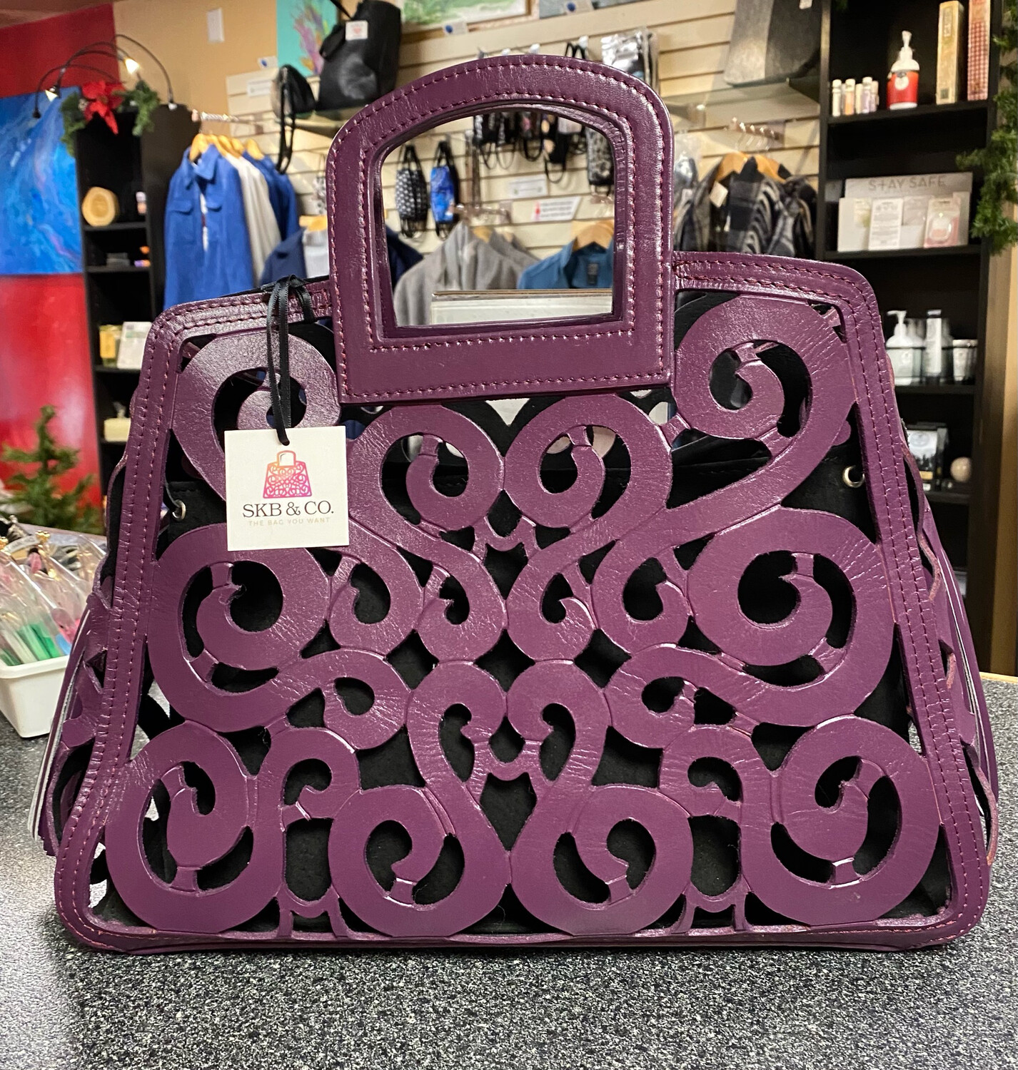 SKB & Comp. This Is A Hand Died Filigree Saddle Leather Hand Tooled Bag With A Suede Interior Gorgeous Purple.