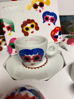 Illy Set Of 6 Porcelain Espresso Cups ( Limited )Art Edition Olimpia Zagnoli)