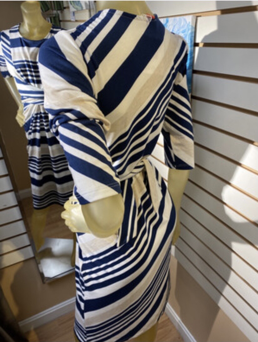 Major Deal Inside Out. Modal Perfectly Placed Flattering Stripes Tye Waist Dress. Small Like 8/10Made In USA