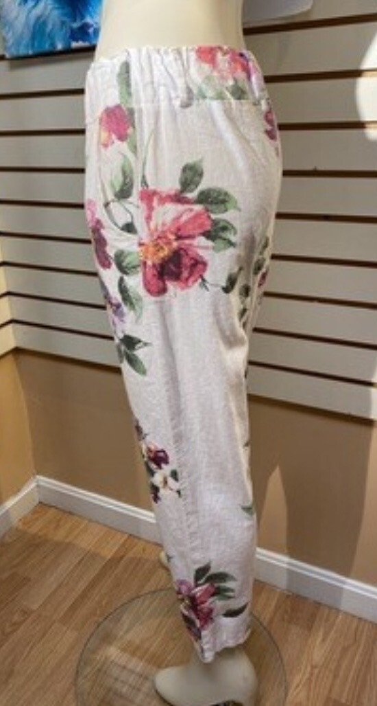 Major Deal M Made In Italy Woven Ankle Pant Flowers XL