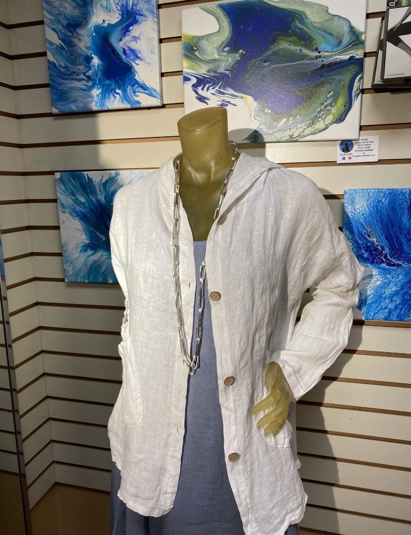 Major Deal Made In Italy White Crinkled Linen Jacket Hooded Small 825996042571S