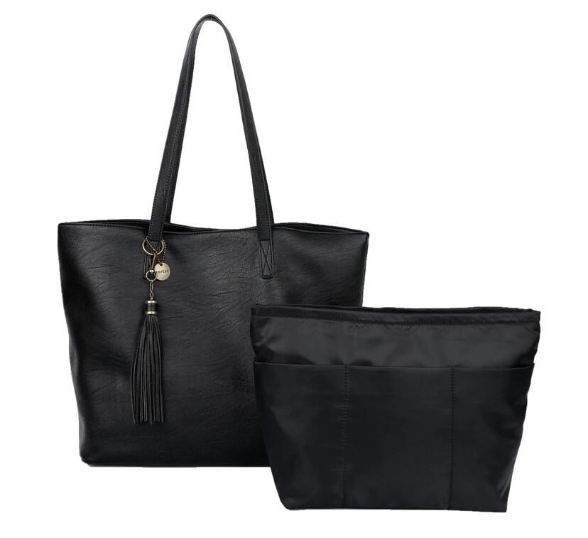 Large Vegan Tote W Inner Bag Black