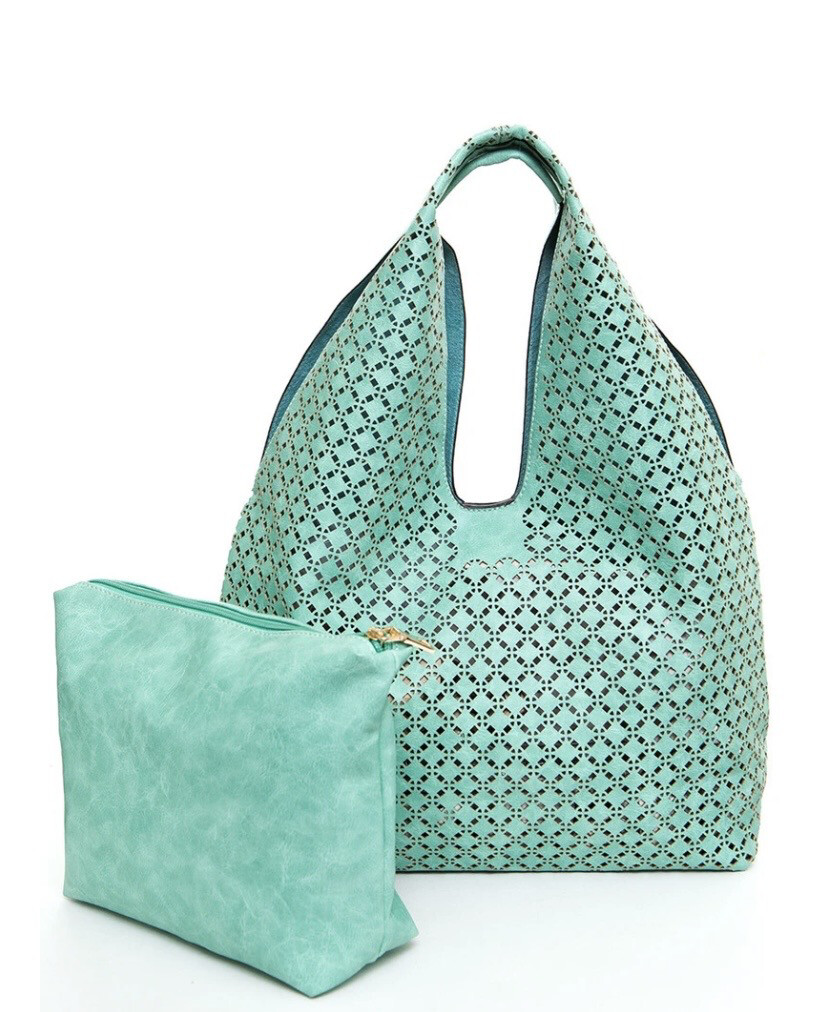 Cut Out Tote Mint W Inner Bag