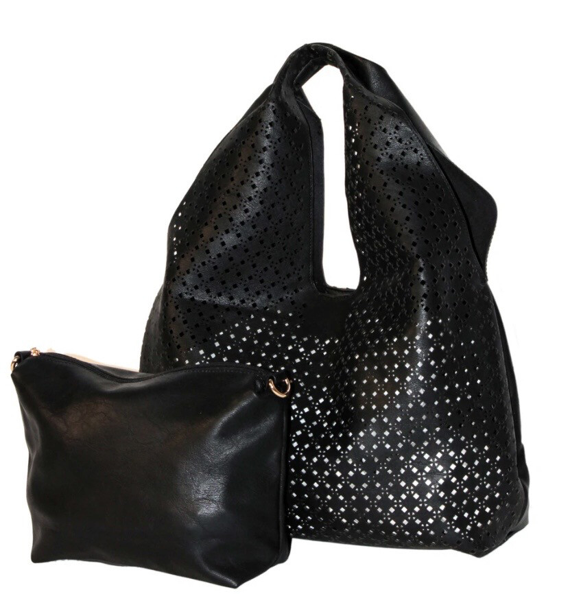 Cut Out Tote Bag Black W Inner Bag