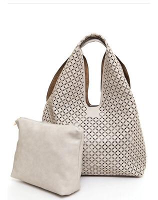 Cut Out Tote Bag W Inner Bag Beige
