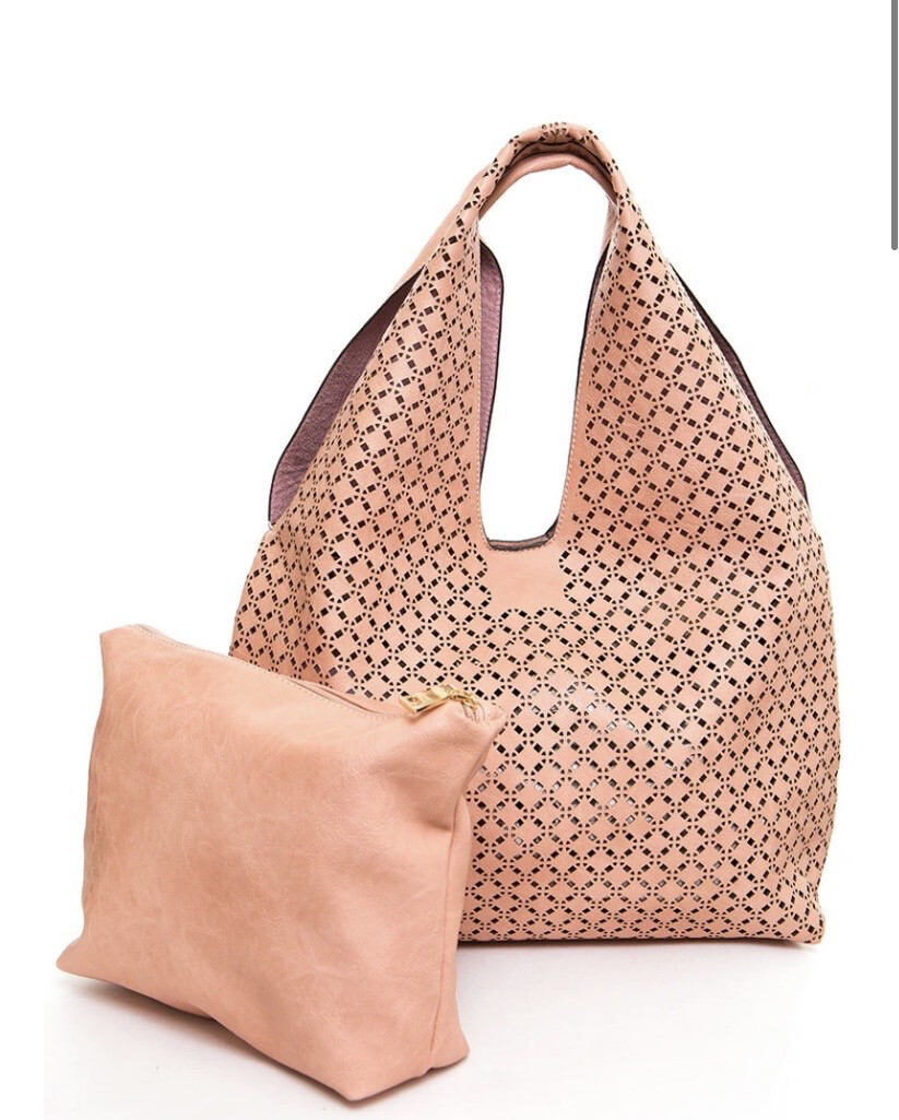 Cut Out Tote Nude W Inner Bag