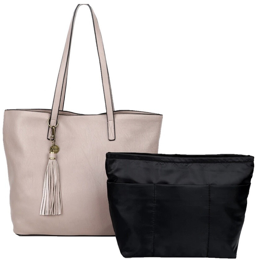 Vegan Tote Bag Large W Inner Bag T106 Nude