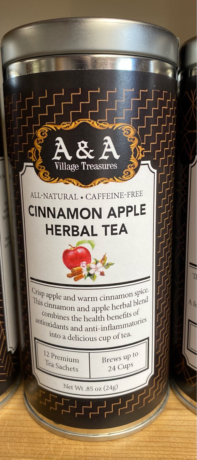 A&A Tea All Natural Caffeine FreeCinnamon Apple 12 Sachet Tin