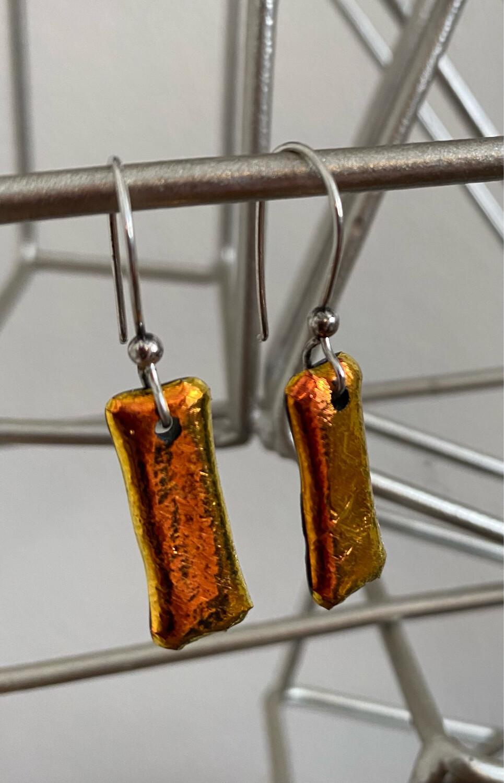 """A&A1 Kiln Fired Drop Earrings. Only One In Glowing Orange. 1. 1/2 """"Drop"""