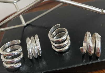 A&A 8 Sterling Silver  Hammered Adjustable Ring