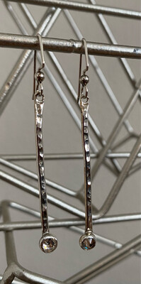 """A&A 6 Sterling Bar With Gem Stone 2 1/2"""" Drop"""