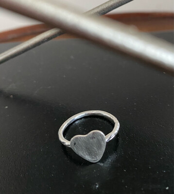 A&A 14 Sterling Silver Solid Heart Ring Size 5.5 Hand Made