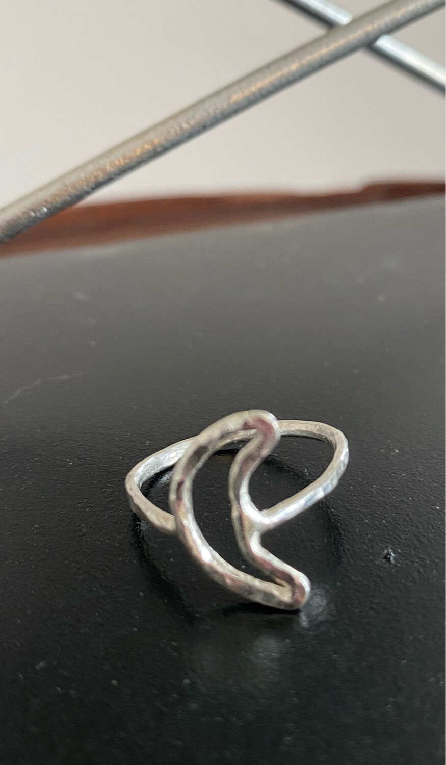 A&A 10 Sterling Silver Hammered Moon Ring. Hand Made Only One.