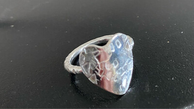 A&A 11 Sterling Silver Hammered Heart Size 6 3/4