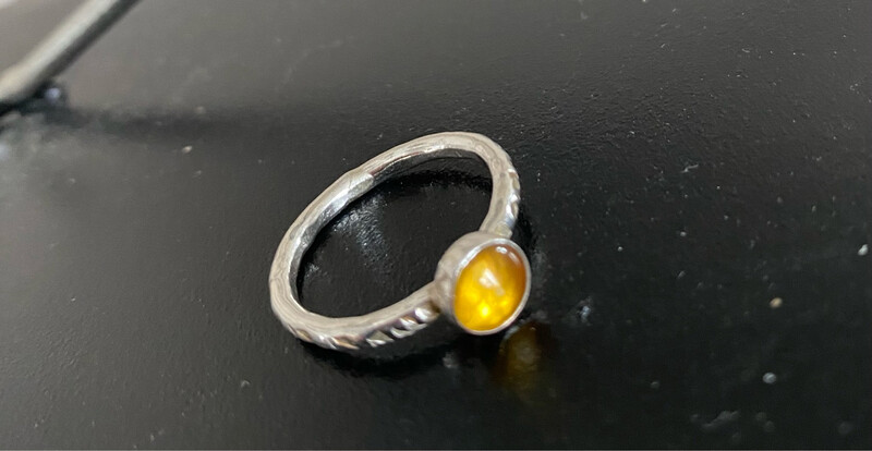 A&A 20 Sterling Silver Soldered Gold Stone Ring Size 6 1/4, 6