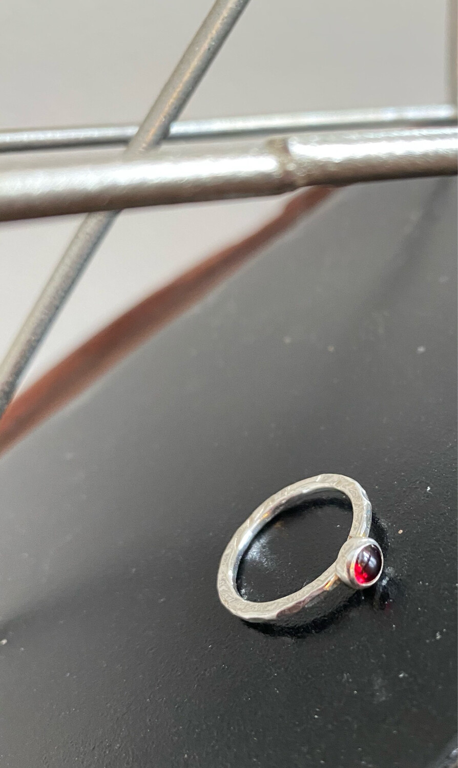 A&A 21 Sterling Silver Hammered Ring With Soldered Red Stone. Size 6, 7