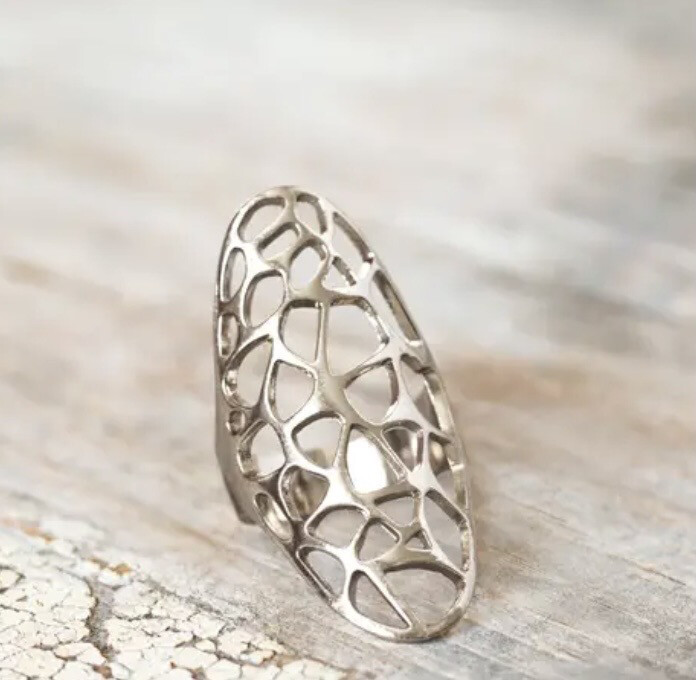 WA Honeycomb Ring Silver