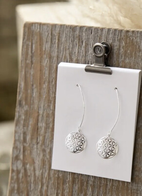 WA Flower Of Life Ear Ring Silver