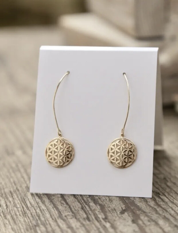 WA Flower Of Life Ear Ring Gold
