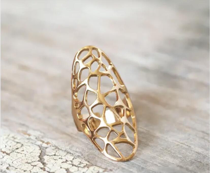 Wa Honeycomb Ring Gold