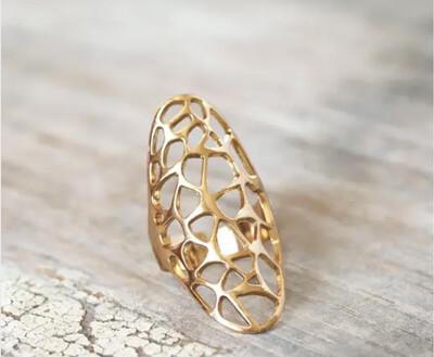 Wa Honeycomb Ring Gold