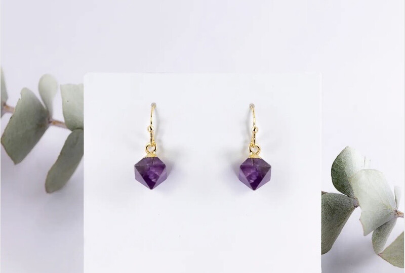 WA Diamond Drops Ear Ring Gold Amethyst