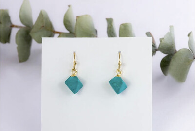WA Diamond Drops Ear Ring Gold Turquoise