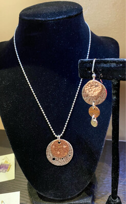 Carlee Moss Creek Sterling Ball Chain And Sterling Mixed Metal Disc Matching Earrings Available.