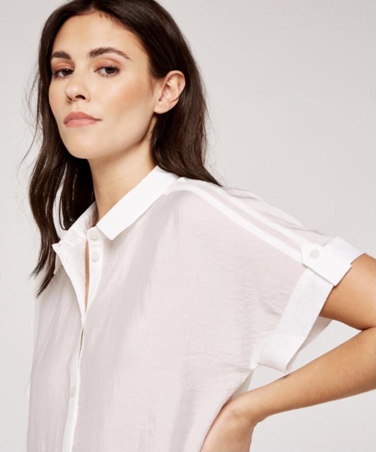 Apricot Turn Up Sleeve Crop Shirt XS