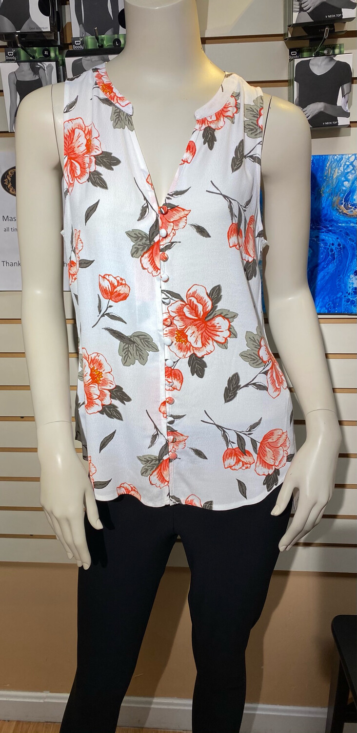 Apricot Floral Slvless Top L