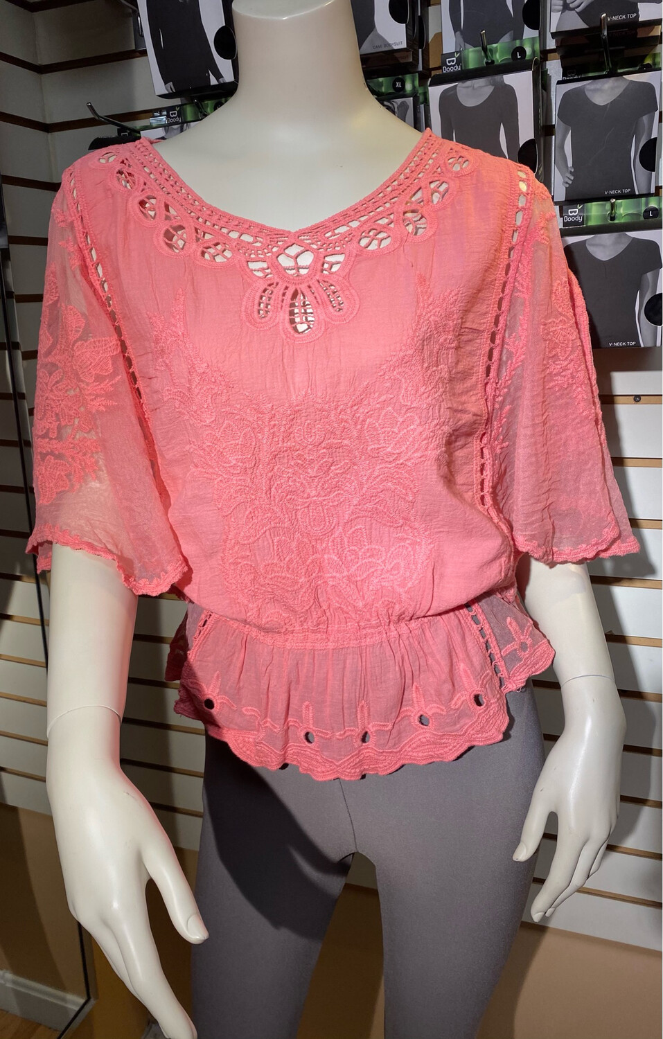 Apricot Flowers Batwing Top S\M